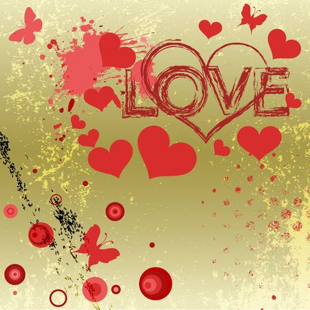 Grungy style love concept  Vector illustration  Vector