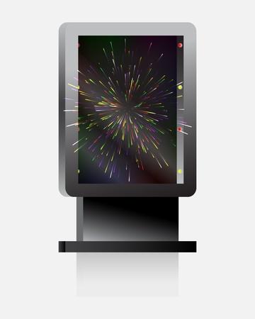 City light billboard  with explosion  fireworks  illustration
