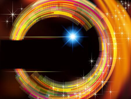 fire circle: Abstract technology vector  background with fire circle and stars