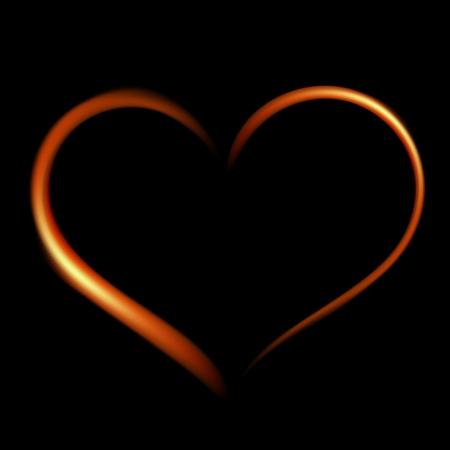 fiery heart on a black background   Vector