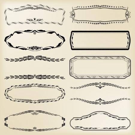 set of calligraphic design elements  vintage frames  Illustration