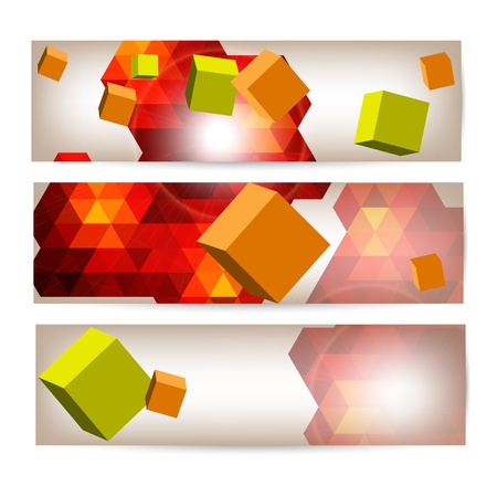 Set of banners with 3d geometrical elements Stock Vector - 19827464