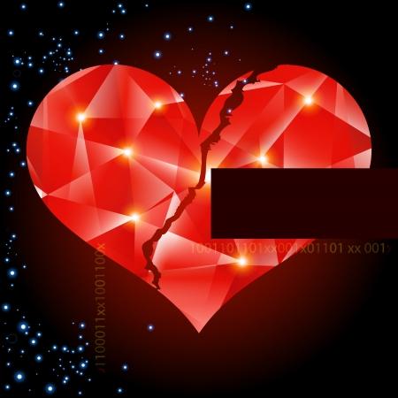 heart broken: Abstract vector background with heart-digital art