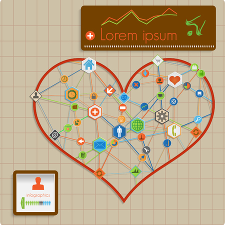 Modern  abstract vector info graphic design - heart lines template. Vector
