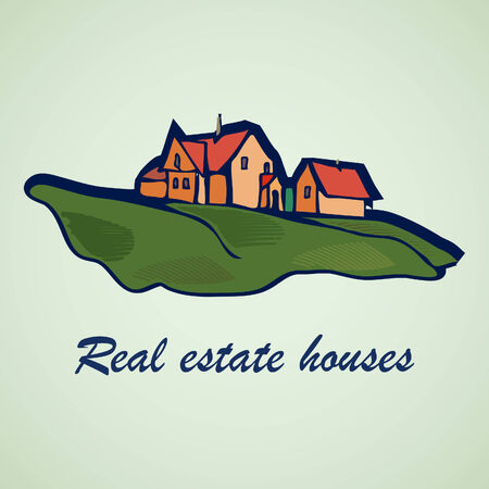lanscape: House vector abstract real estate concept design  Realty theme icon  Illustration