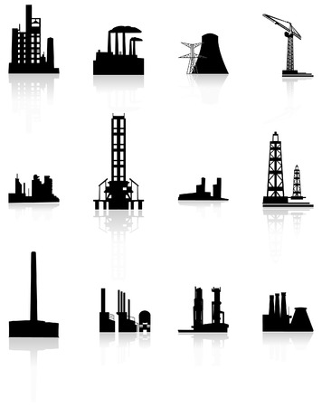 Vector black factory icons set.