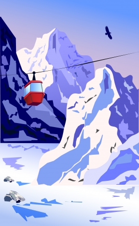 Vector background - Winter Mountains with ropeway.