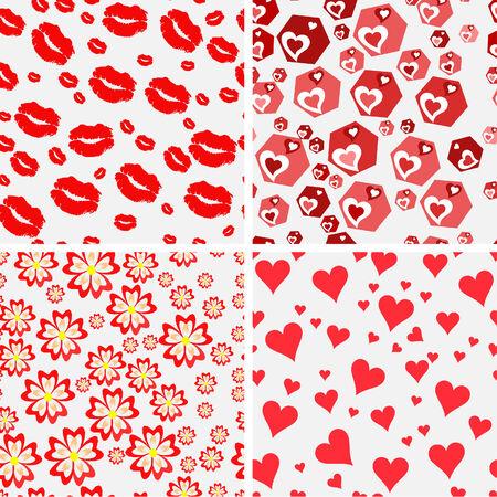 Set of vector  seamless love patterns. Vector