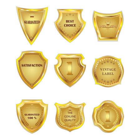 vintagel: Set of vector golden vintagel design elements on white background.