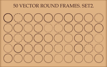 Set of 50 vector round frames in different styles. Set 2. Vector