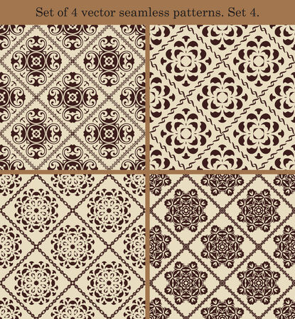 Set of 4 vector vintage seamless patterns. Set 4.