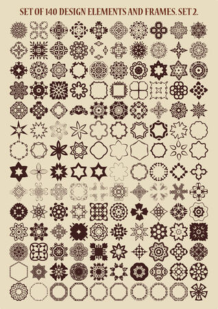 Set of 140 vector design elements and frames. Set 2. Vector