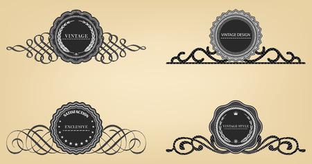 Vintage labels  retro style set. Vector design elements.  Illustration