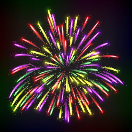 Bright abstract festive fireworks over black background. Vector illustration. Vector