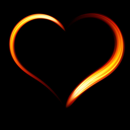 Vector fiery heart on a black background.