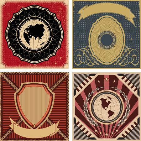 globus: Set of vector vintage poster backgrounds. Illustration