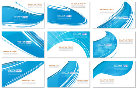 Set of Abstract Various Business Card  wave design. Vector illustration.