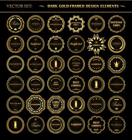 Vector set of dark gold-framed design elements.