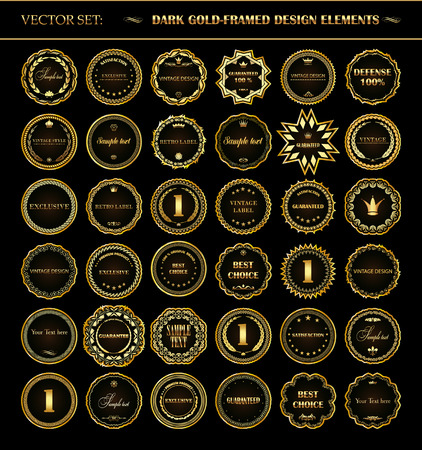 Vector set of dark gold-framed design elements.