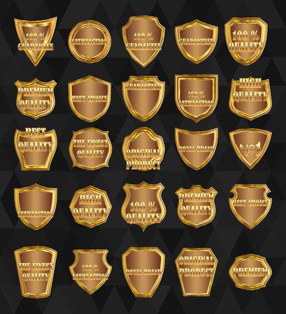 Set of vector  vintage design elements-golden shields. Ilustração