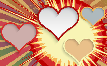 Abstract explosion background with hearts. Vector illustration.