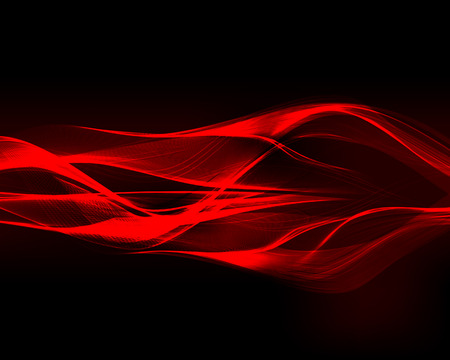 glowing: Abstract red waves on the dark background. Vector illustration.