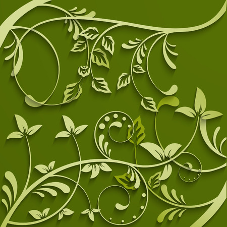 pasted: Abstract leaves green background. Vector lillustration.