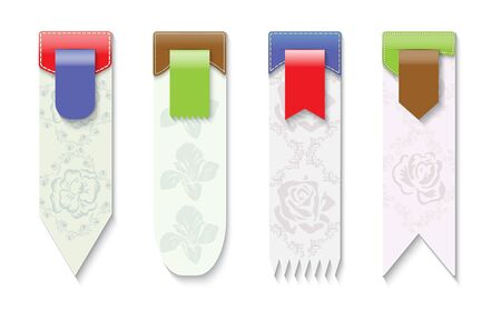 Set of vertical vector cardboard vector sale banners  decorated with colorful ribbon tags.