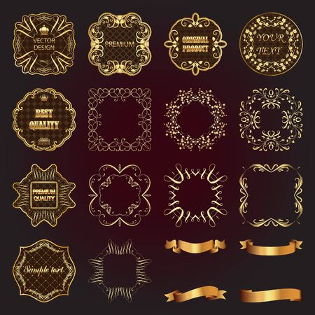 gold design: Set of vintage gold design elements-vector labels, frames, ribbons. Illustration