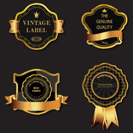 golden shield: Set of vector golden decorative ornate black golden-framed labels.