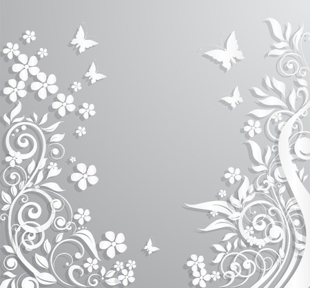 Abstract vector background with paper flowers and butterflies.