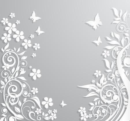 feuillage: Résumé vecteur de fond avec des fleurs et des papillons en papier.