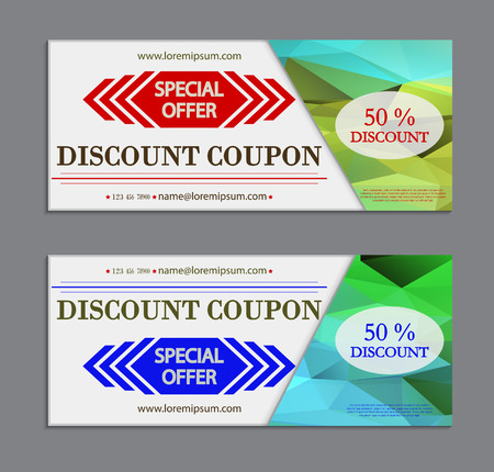 discounts: Vector labels template set, discount coupon template with modern pattern.