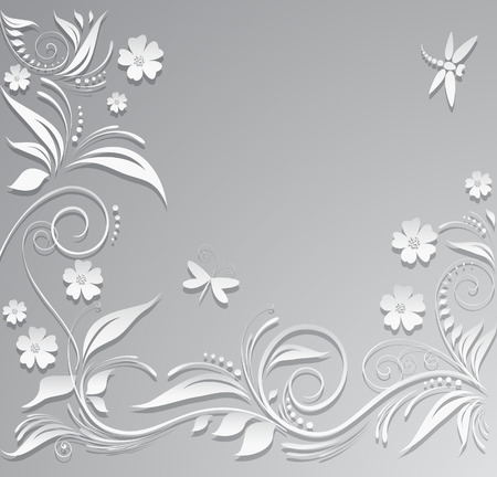 border silhouette: Abstract vector background with paper flowers Illustration