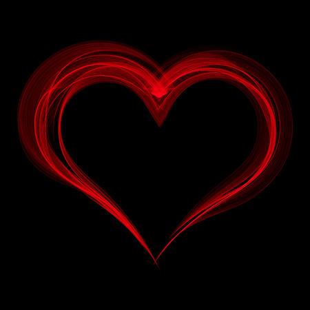 rosa negra: corazón rojo del humo en un fondo negro. Ilustración del vector.