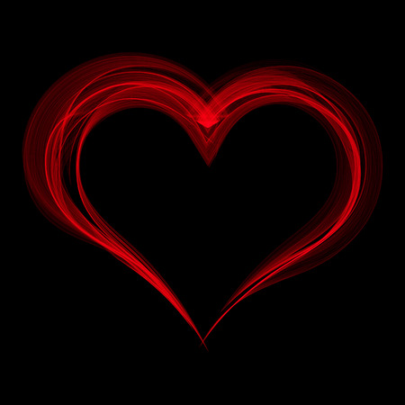 Red smoke heart on a black background. Vector illustration.