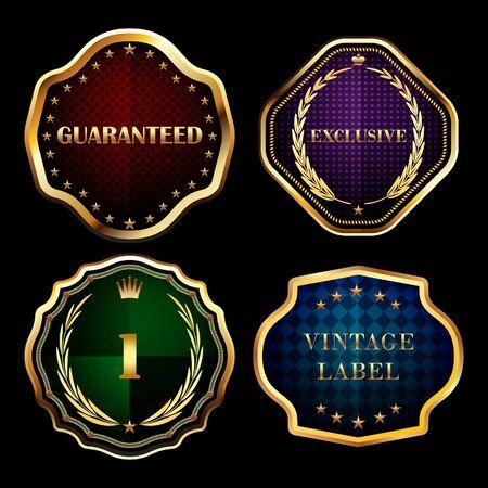Vintage gold frames labels collection vector design elements.