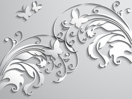 Abstract background with paper flowers and butterflies. Vector illustration. Vetores