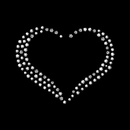 coeur diamant: Vecteur brillant diamant coeur sur fond noir.