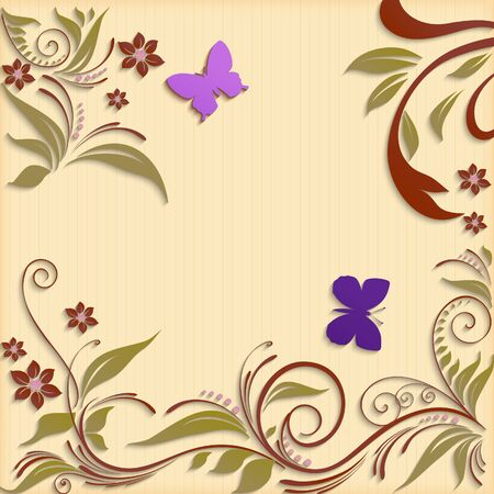 pasted: Abstract background with paper flowers and butterflies.