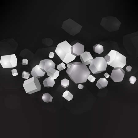 shatter: Dark background with 3D polygpns in empty  black space. Vector illustration. Illustration