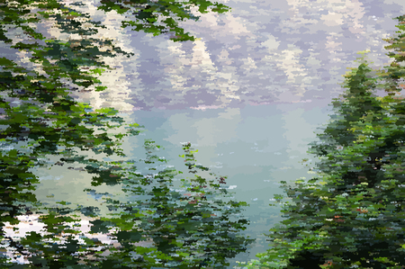 A beautiful landscape near a lake in pointillism style. Vector illustration.