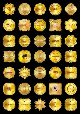 Set of design elements-vector golden labels premium quality collection on black background. Illustration
