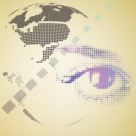 composite: Digital composite of halftone human eye and abstract technology background. Vector illustration. Illustration