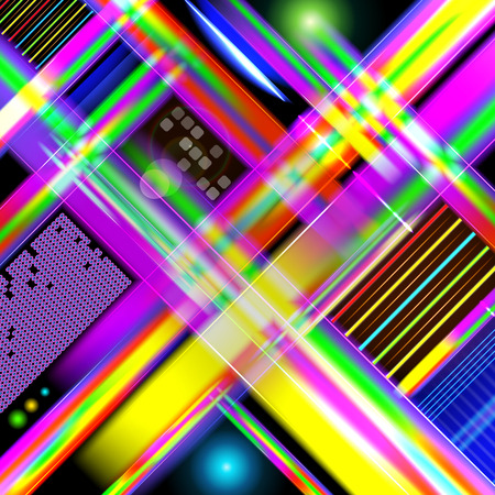 Abstract technology-style background  with colorful light and stripes. Vector illustration. Illustration