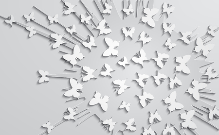 Abstract design with paper butterfly on the background of explosion form. Vector illustration.