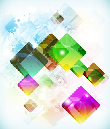 Abstract futuristic background with falling colored boxes Illustration