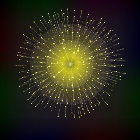 Bright abstract festive fireworks over black background Illustration