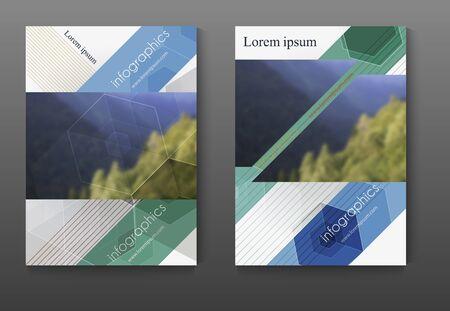 Brochure design template set, leaflet cover presentation abstract flat background.