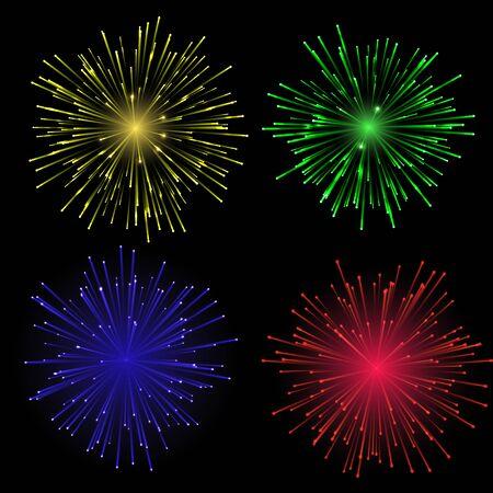 Bright abstract festive fireworks set. Illustration